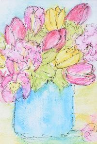 PINK & YELLOW TULIPS by Lynda Cookson at Ross's Auctions