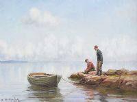 PULLING THE BOAT IN by Charles McAuley at Ross's Auctions