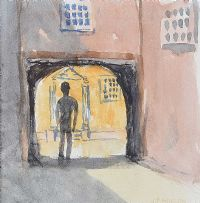 FIGURE IN AN ARCHWAY by Father Jack P. Hanlon RHA at Ross's Auctions