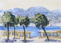 VIEW ACROSS THE LAKE by Father Jack P. Hanlon RHA at Ross's Auctions