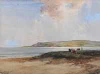 CATTLE GRAZING ON THE ANTRIM COAST by Frank McKelvey RHA RUA at Ross's Auctions