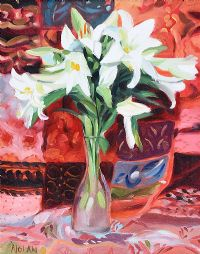 LILLIES ON AN INDIAN BEDSPREAD by David Nolan at Ross's Auctions