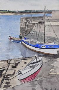 BOATS IN THE HARBOUR by Elsie Nevill at Ross's Auctions