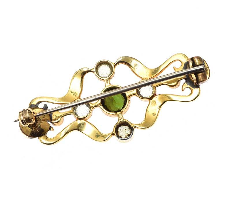 15CT GOLD MULTI-GEM BROOCH at Ross's Online Art Auctions