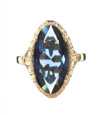 9CT GOLD BLUE TOURMALINE RING at Ross's Jewellery Auctions