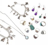 SELECTION OF GEM-SET SILVER JEWELLERY at Ross's Jewellery Auctions