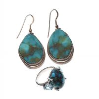 SUITE OF STERLING SILVER, TOPAZ AND TURQUOISE JEWELLERY at Ross's Auctions