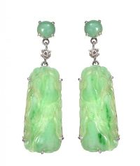 18CT WHITE GOLD DIAMOND AND JADE EARRINGS by Jade at Ross's Auctions