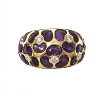 18CT GOLD AMETHYST AND DIAMOND RING at Ross's Jewellery Auctions