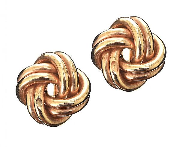 9CT GOLD KNOT EARRINGS at Ross's Online Art Auctions