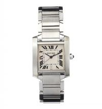 CARTIER 'TANK' STAINLESS STEEL LADY'S WRIST WATCH at Ross's Online Art Auctions