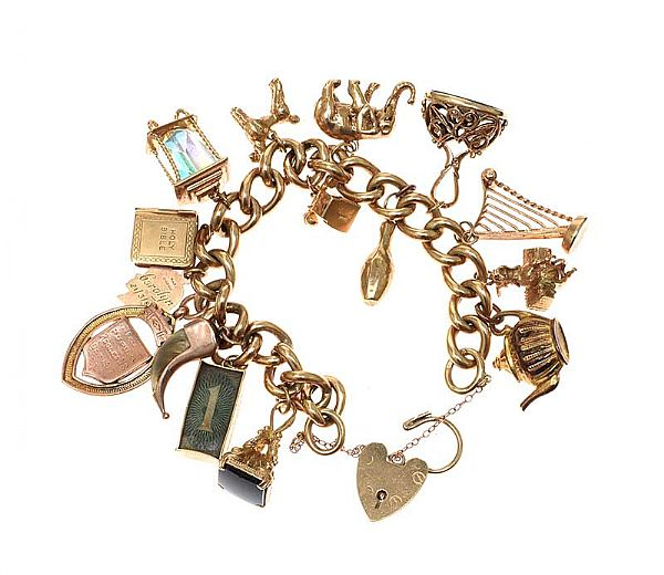 9CT GOLD CHARM BRACELET at Ross's Online Art Auctions