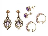 THREE PAIRS OF 9CT GOLD AMETHYST-SET EARRINGS at Ross's Auctions