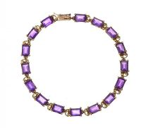 9CT GOLD BRACELET SET WITH AMETHYST at Ross's Auctions
