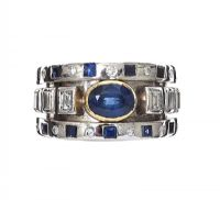 18CT WHITE GOLD SAPPHIRE AND DIAMOND RING at Ross's Jewellery Auctions