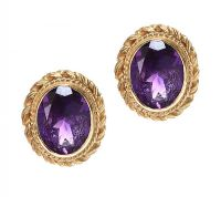 9CT GOLD EARRINGS SET WITH AMETHYST at Ross's Jewellery Auctions