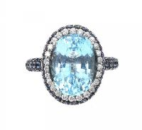 18CT WHITE GOLD BLUE TOPAZ, SAPPHIRE AND DIAMOND RING at Ross's Jewellery Auctions