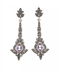 SILVER MARCASITE AND AMETHYST EARRINGS at Ross's Auctions