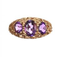 9CT GOLD THREE STONE AMETHYST at Ross's Jewellery Auctions
