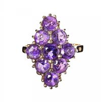 9CT GOLD AMETHYST CLUSTER RING at Ross's Jewellery Auctions