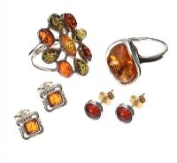 SELECTION OF STERLING SILVER AMBER-SET JEWELLERY at Ross's Auctions