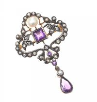 9CT GOLD ON SILVER AMETHYST, PEARL AND DIAMOND BROOCH at Ross's Jewellery Auctions