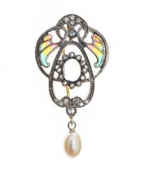 SILVER GILT 'PLIQUE A JOUR' PENDANT/BROOCH WITH DIAMONDS, MOONSTONE AND A PEARL at Ross's Jewellery Auctions
