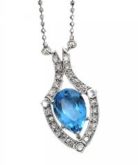 18CT WHITE GOLD BLUE TOPAZ AND DIAMOND PENDANT AND CHAIN at Ross's Jewellery Auctions