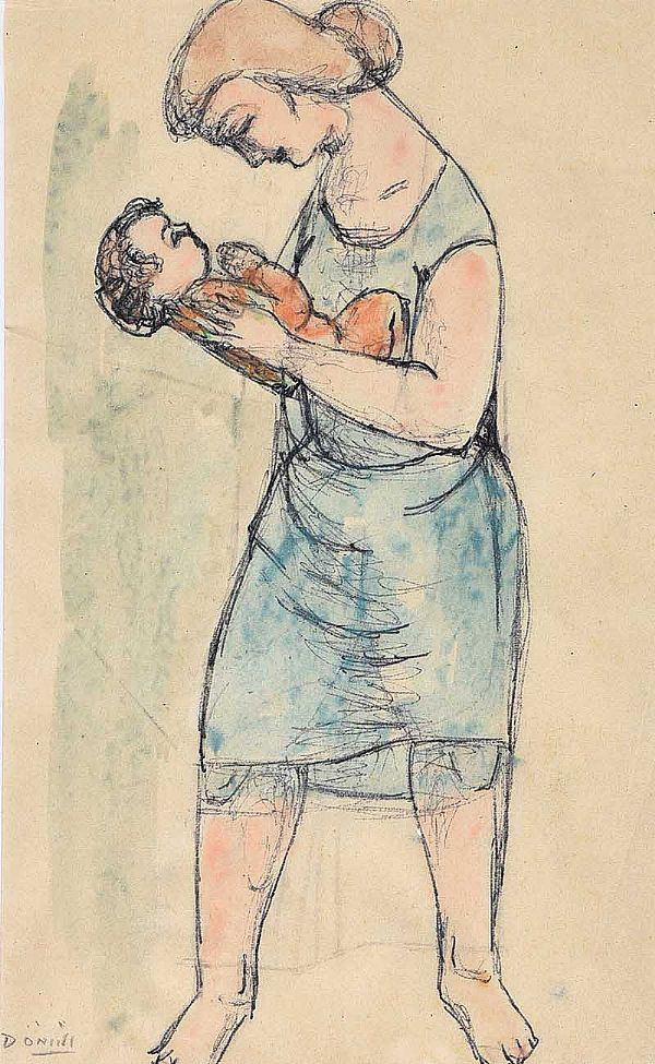 MOTHER & CHILD by Daniel O'Neill at Ross's Online Art Auctions