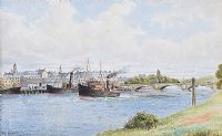 COAL BOATS IN THE HARBOUR, COLERAINE by Frank Hargy at Ross's Auctions
