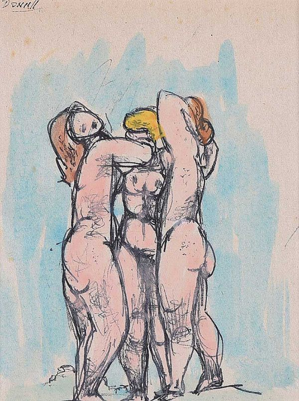 THREE STANDING NUDES by Daniel O'Neill at Ross's Online Art Auctions