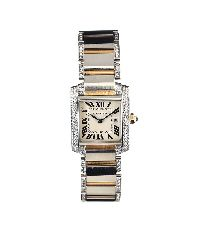 CARTIER STAINLESS STEEL AND 18CT GOLD DIAMOND-SET 'TANK FRANCAISE' LADY'S WRIST WATCH by Wrist Watches at Ross's Auctions