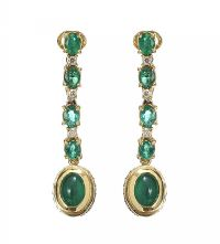 18CT GOLD EMERALD AND DIAMOND DROP EARRINGS at Ross's Jewellery Auctions