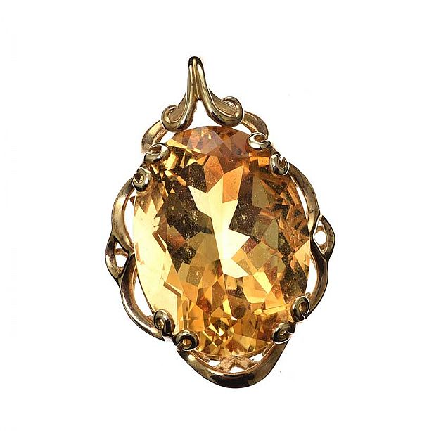 9CT GOLD CITRINE PENDANT at Ross's Online Art Auctions