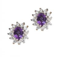 AMETHYST AND DIAMOND EARRINGS at Ross's Jewellery Auctions