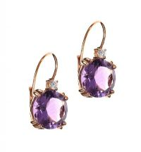 18CT GOLD AMETHYST AND DIAMOND DROP EARRINGS at Ross's Jewellery Auctions