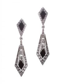 18CT WHITE GOLD ONYX AND DIAMOND DROP EARRINGS at Ross's Jewellery Auctions