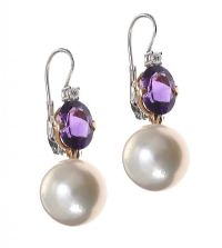 18CT GOLD AND WHITE GOLD AMETHYST, DIAMOND AND PEARL DROP EARRINGS at Ross's Jewellery Auctions