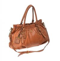 PRADA TAN LEATHER HANDBAG at Ross's Jewellery Auctions