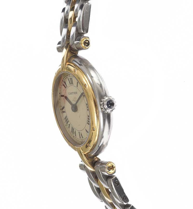 CARTIER STAINLESS STEEL AND 18CT GOLD LADY'S WRIST WATCH at Ross's Online Art Auctions