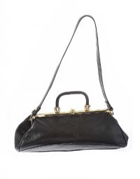 VINTAGE BLACK LEATHER HANDBAG at Ross's Jewellery Auctions