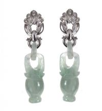 14CT GOLD DIAMOND AND JADE EARRINGS at Ross's Jewellery Auctions