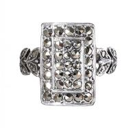 ANTIQUE SILVER PLAQUE RING SET WITH MARCASITE at Ross's Jewellery Auctions