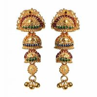 22CT GOLD RUBY AND EMERALD EARRINGS at Ross's Jewellery Auctions
