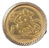 9CT GOLD MOUNTED SOVEREIGN, 1887 at Ross's Jewellery Auctions