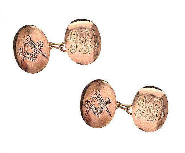 9CT ROSE GOLD MASONIC CUFFLINKS at Ross's Online Art Auctions