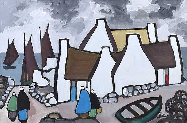 AN IRISH FISHING VILLAGE by Markey Robinson at Ross's Online Art Auctions