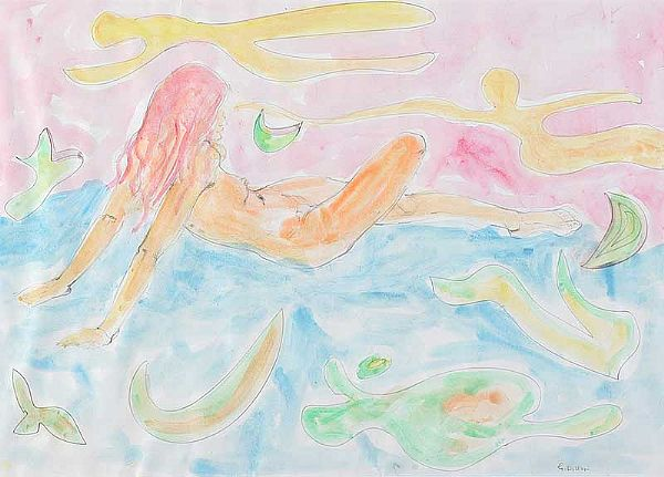 FEMALE NUDE IN A LANDSCAPE by Gerard Dillon at Ross's Online Art Auctions