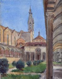 CLOISTER SANTA CROCE, FLORENCE by Coralie de Burgh at Ross's Auctions
