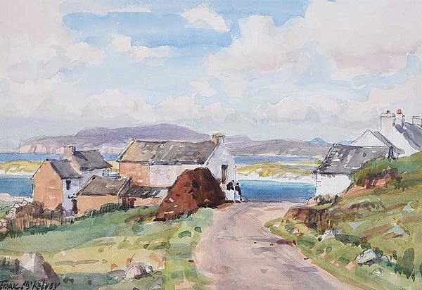 CHATTING BY THE ROADSIDE by Frank McKelvey RHA RUA at Ross's Online Art Auctions